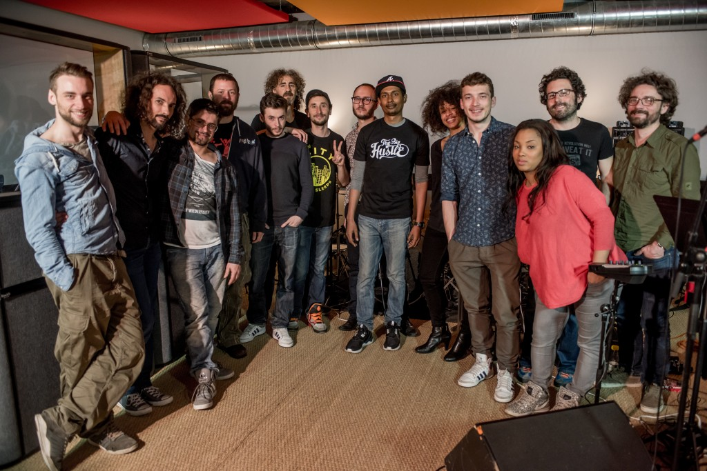 From left to right : Jerome, Bruno, Sylvain, Gabriel, Mr Viktor, Nicolas Djemane, Sébastien, Bertrand Luzignant, Beat Assailant, Sarah Fezzani, Philippe, Elodie Ji, Olivier, François.